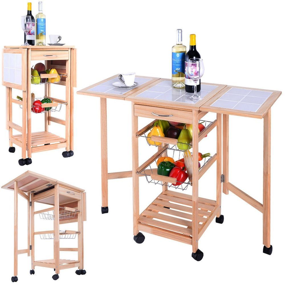 Kitchen Island Unit Cart Wooden Trolley Worktop Folding Side Boards ...
