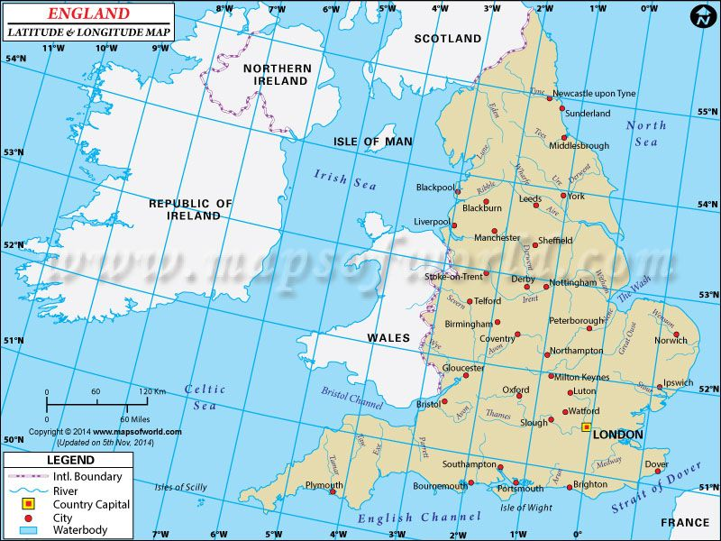 England Latitude And Longitude Map Latitude Longitude Maps - Latitude map world