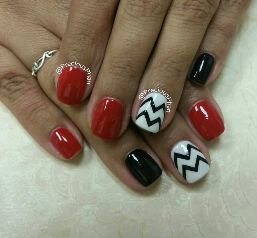Black white and red nails. Chevron nails. #PreciousPhanNails | mimi ...
