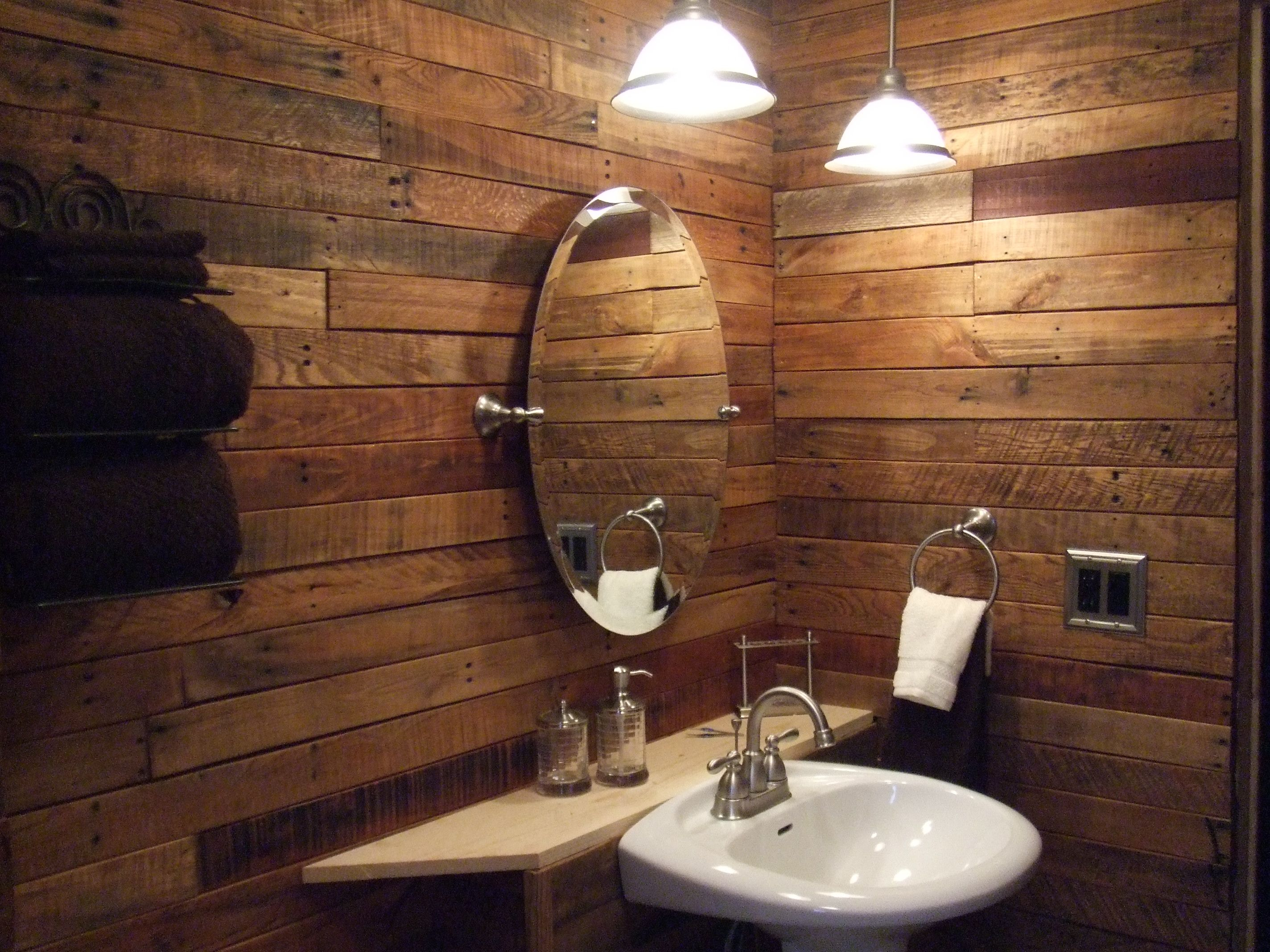 pallet wood and new brushed nickel fixtures | pallet and wood slab