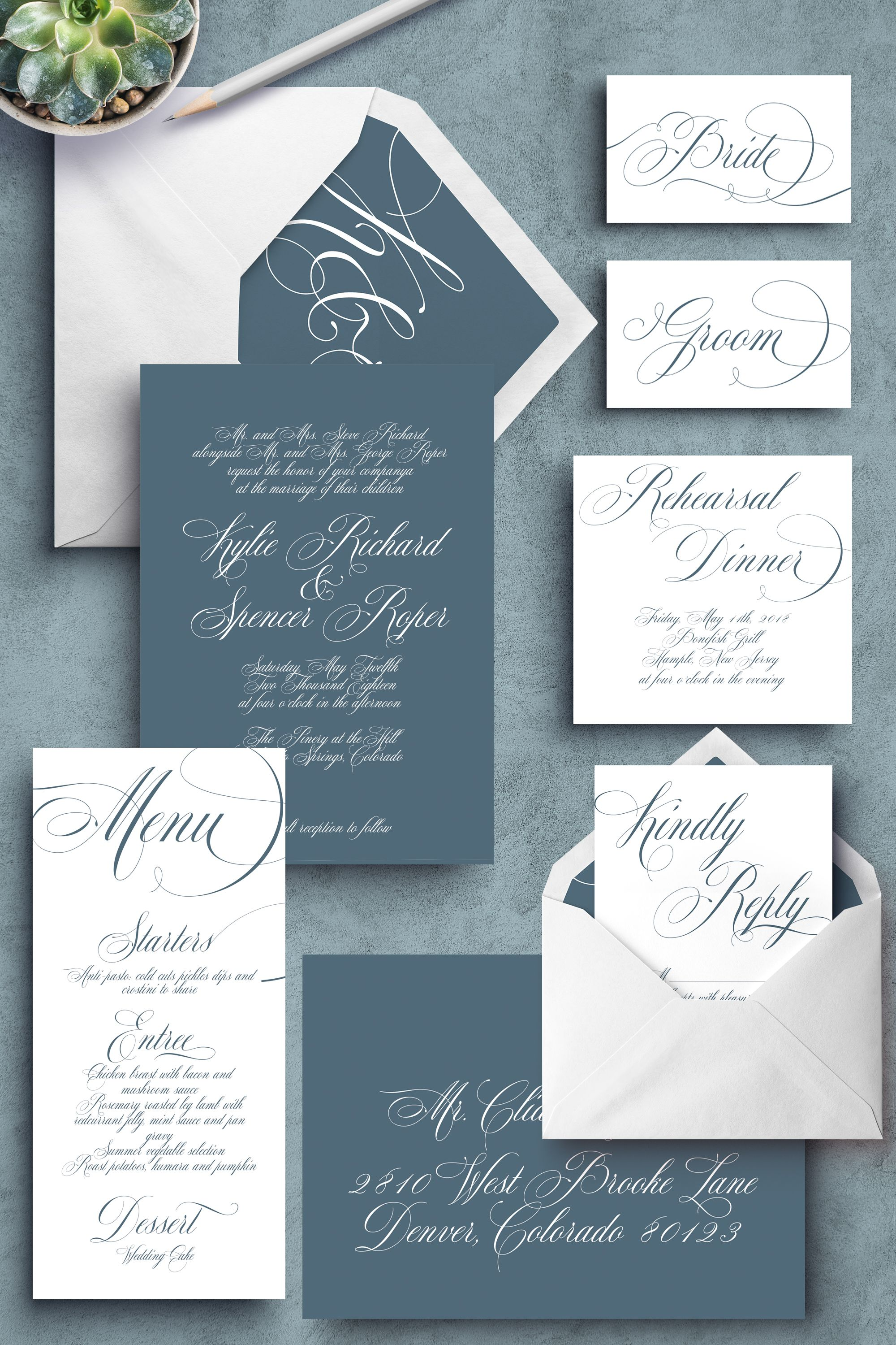 Dusty blue wedding slate blue wedding blue and grey wedding dusty blue wedding slate blue wedding blue and grey wedding calligraphy invitations elegant wedding invitations cheap wedding invitations filmwisefo