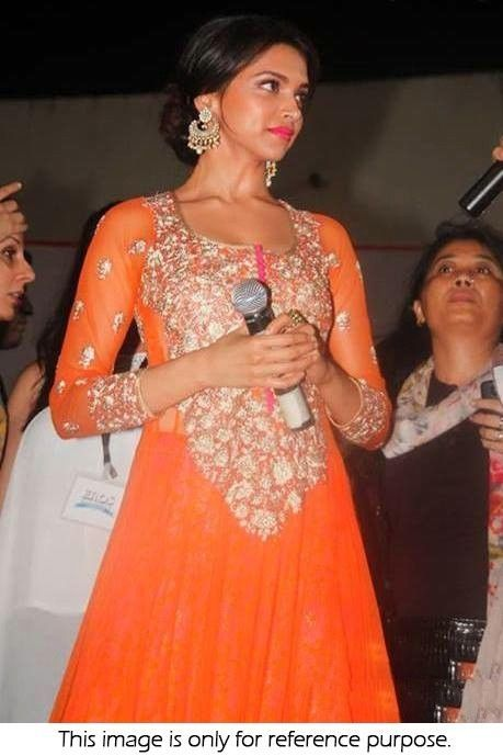 Bollywood Style Deepika Padukone Net Suit In Orange Colour ...