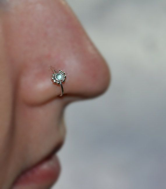 2mm Topaz Nose Ring Silver Flower Nose Hoop Daith Piercing