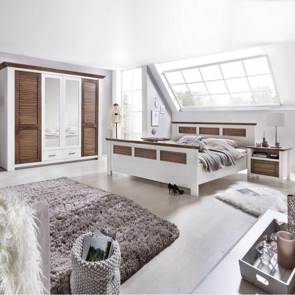 Landhaus Schlafzimmer Laguna Mit Lamellenfronten Hochbett Mit