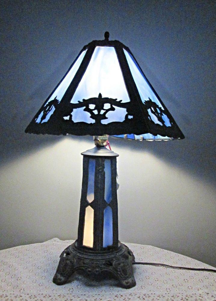 f8402507e35f5 Vintage Arts   Craft Mission style slag glass table lamp PEH marks blue slag   ArtsCraftsMissionStyle  markedPEH