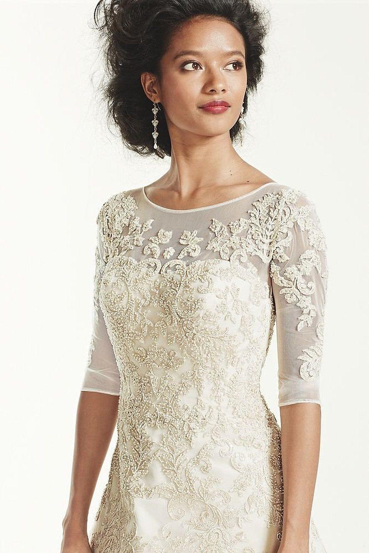 76d51f4f47ee Tulle Oleg Cassini 3/4 Sleeve Lace Wedding Dress Style CWG630 at Amazon  Women's Clothing store: