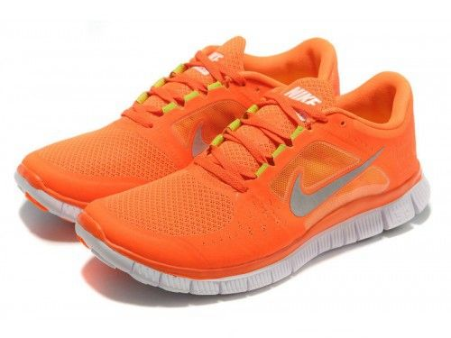 best loved 075fb ed567 Women's Nike Free Run + 3 Running Shoes Orange/Silver Gray ...