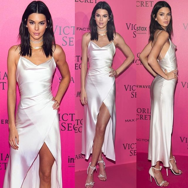 After party Gorgeous @kendalljenner in @camillaandmarc white slip dress |  @versace_official shoes |  @erthjewelry jewelry  #STYLEDbyMonicaRose #VSFS2016 #kendalljenner