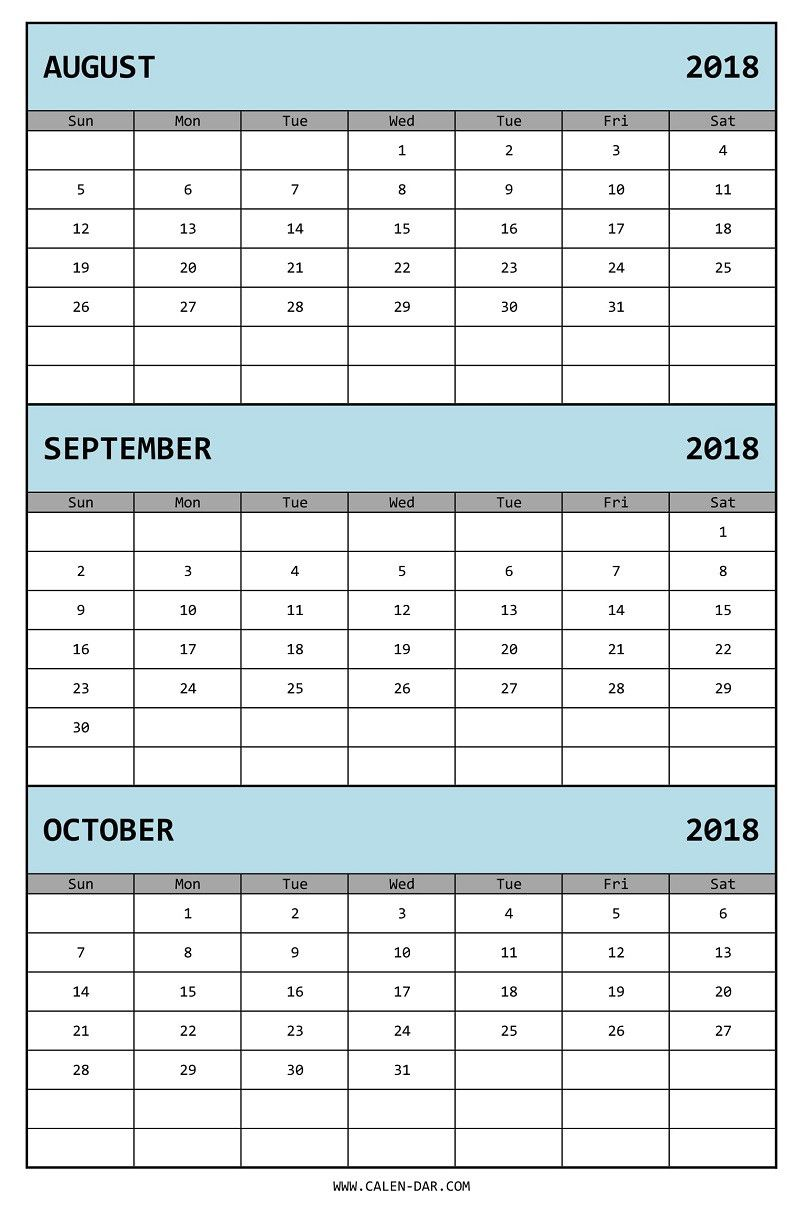 3 Month Calendar Template | Three Month Calendar 2018 August September October Printable Free