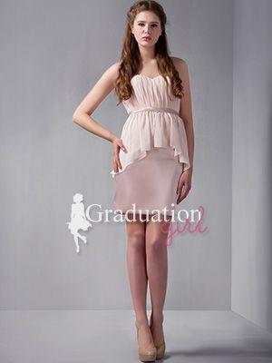 b7dea512add Light Pink College Chiffon Short Petite Sweetheart Graduation Dress - US   85.99 - Style G0041 - Graduation Girl
