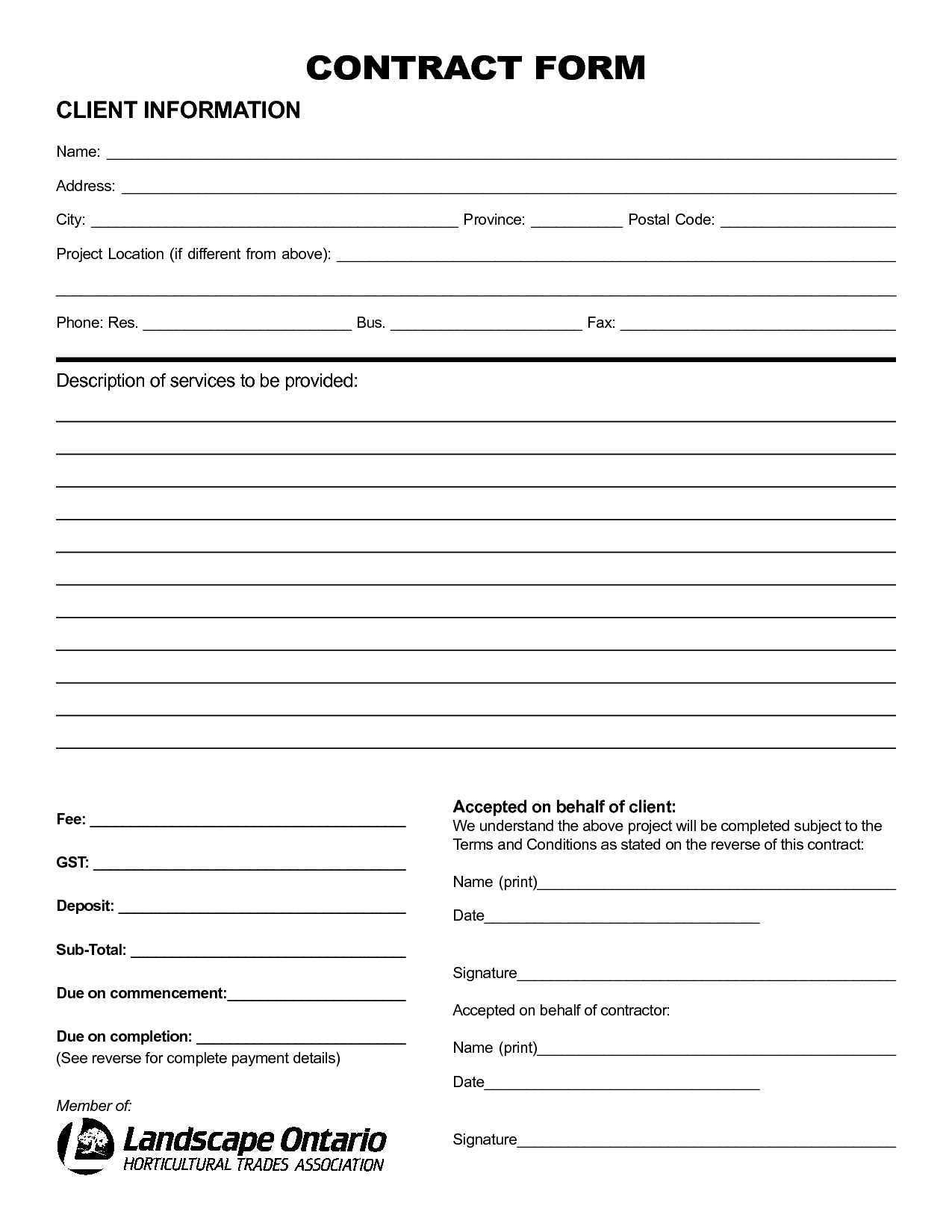 Landscape Contracts Sample  Free Employment Contract Form