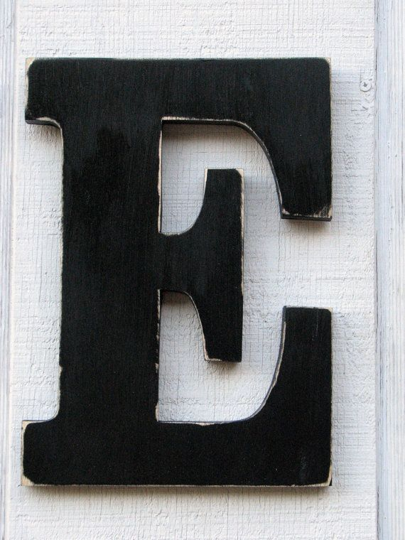 Large Wooden Letters E Distressed In Black 12 By Borlovanwoodworks