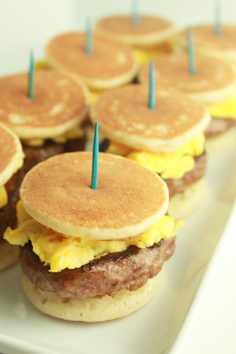 Pancake Sausage and Egg Sliders | Breakfasts | Practically Homemade