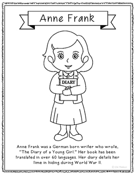 Photo of Anne Frank Coloring Page Craft or Poster with Mini Biography, Holocaust