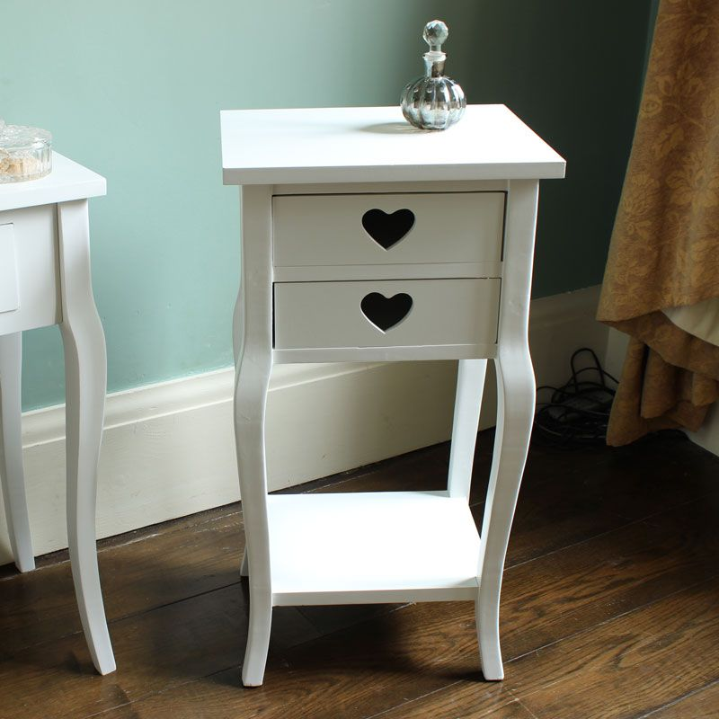Sophia Heart Range - White Two Drawer Bedside Table