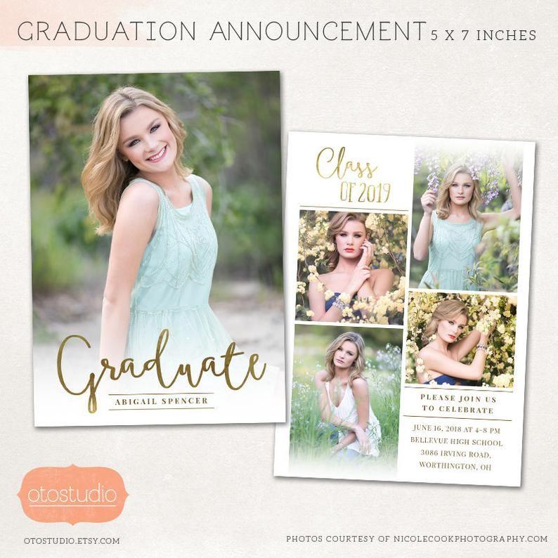 Senior Grad Announcement Card Modern Senior Graduation Card Template Senior Announcement Template Graduation Card