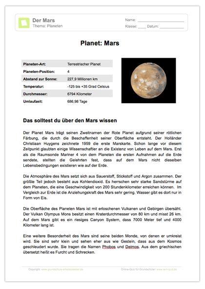 Arbeitsblatt: Lesetext - Planet Mars in 2018   Neue Arbeitsblätter ...
