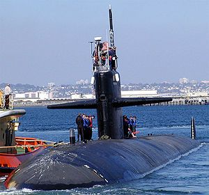 Los Angeles class nuclear powered attack submarine USS Bremerton (6,900 tonnes).