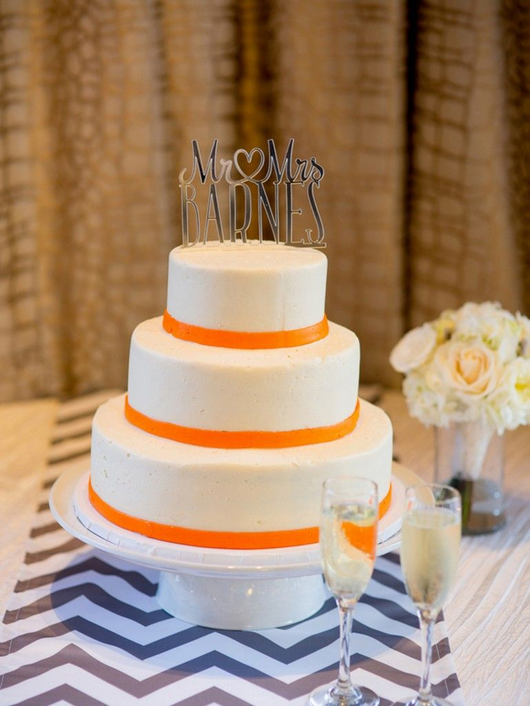 Orange and grey wedding by portrait design by shanti wedding cakes
