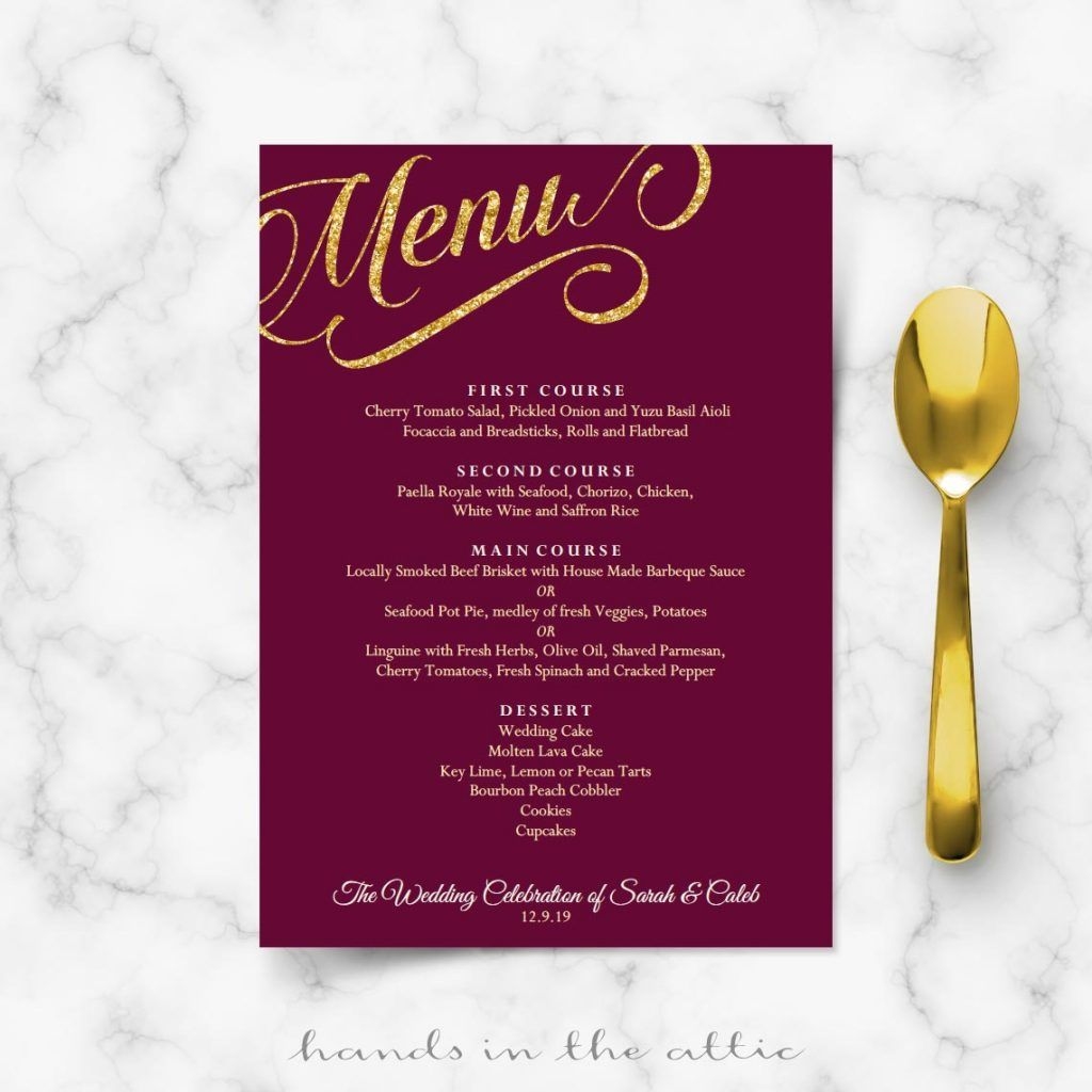 Maroon Burgundy And Gold Wedding Menu Template  Wedding Menu