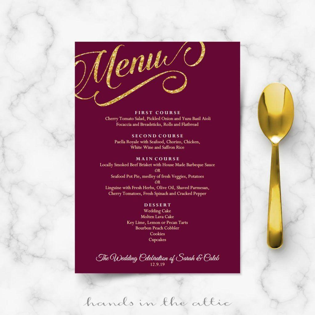 Maroon burgundy and gold wedding menu template wedding