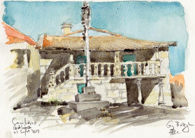 Combarro, maison traditionnelle du village. Aquarelle, graphite papier Canson Montval 210g, grain fin