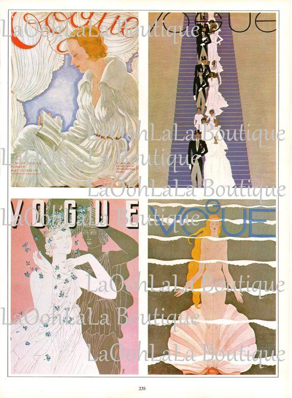 1931 Vogue Josephine Baker Cover Benito Art Deco Flapper Fashion – Haute Couture Millinery African A
