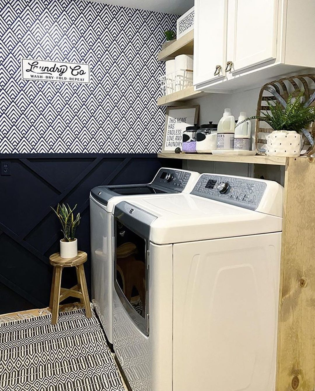 Diy Laundry Room With Wallpaper Peel And Stick Tile Flooring Diy Shelving And Samsunghomeapplian Laundry Room Diy Rustic Laundry Rooms Laundry Room Remodel