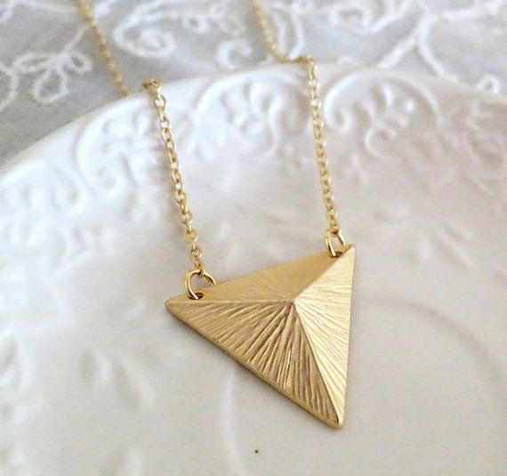 Geometric Triangle Pyramid Gold Necklace Arrow by AngelPearls