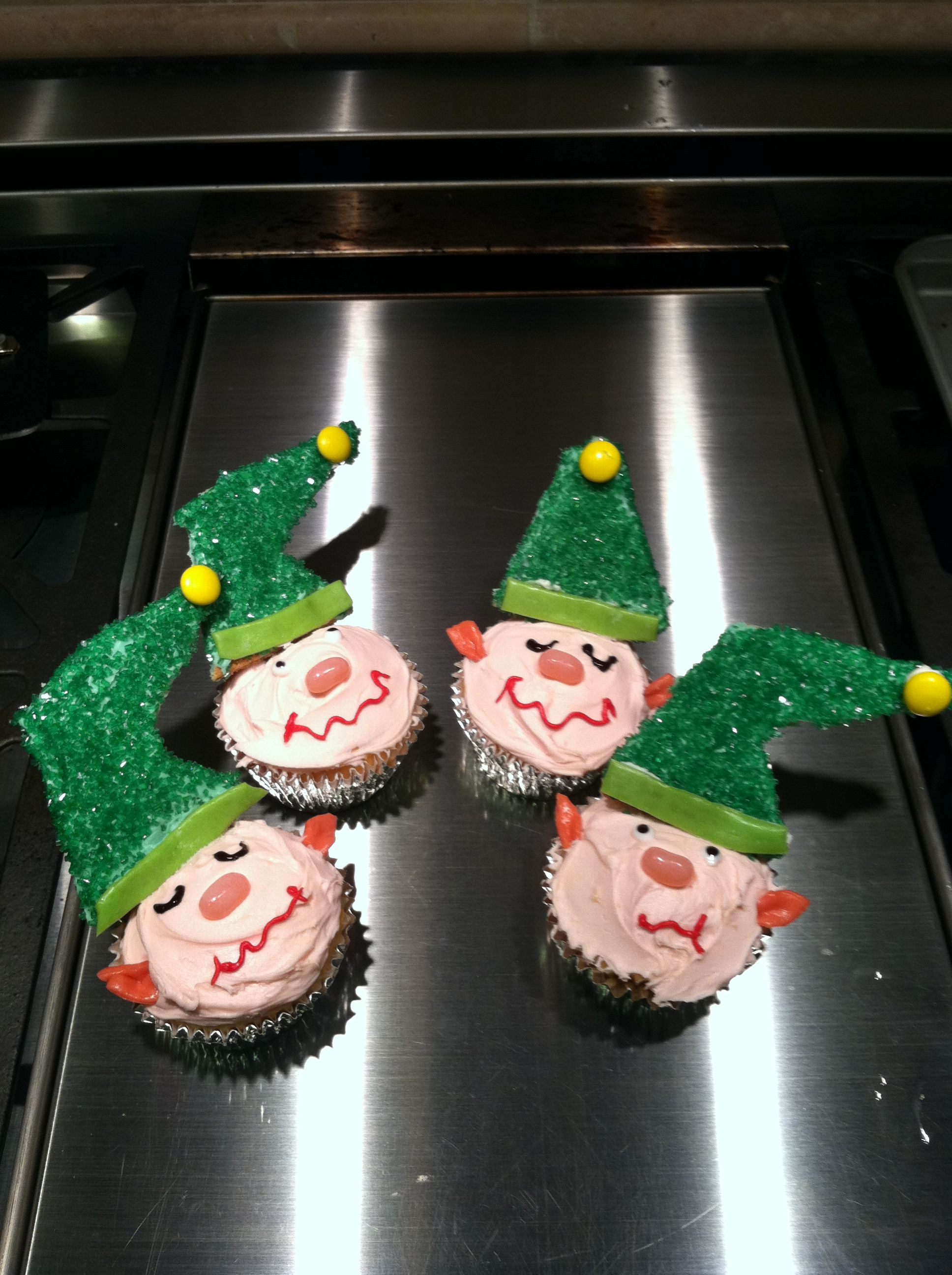 Elf Cupcakes-These went over great at the boys Christmas Party.