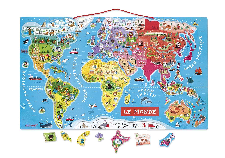 Janod J05500 Puzzle Monde Magnétique Version Française Bois