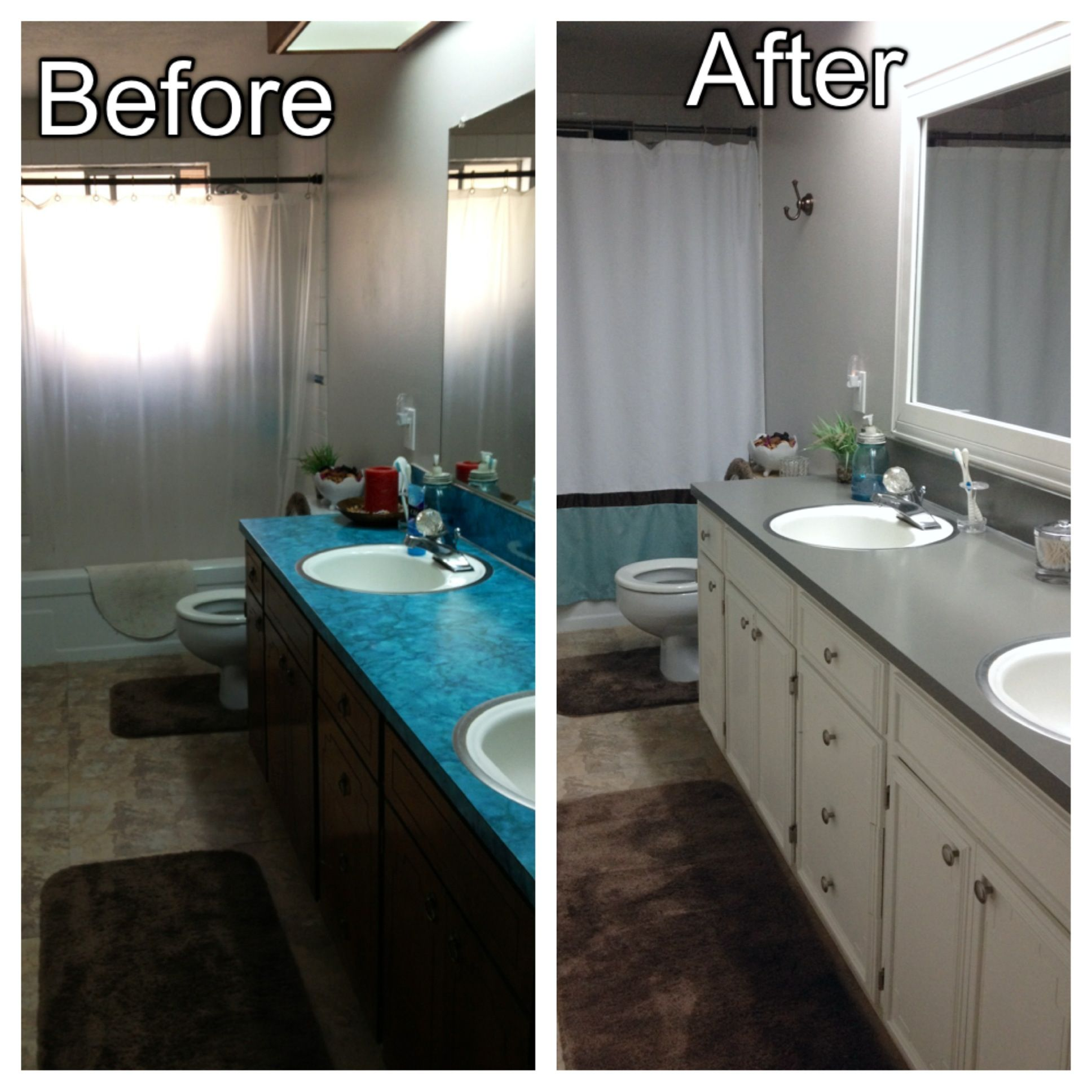 Before and after minor upgrades to our bathroom added for Painting kitchen countertops before and after