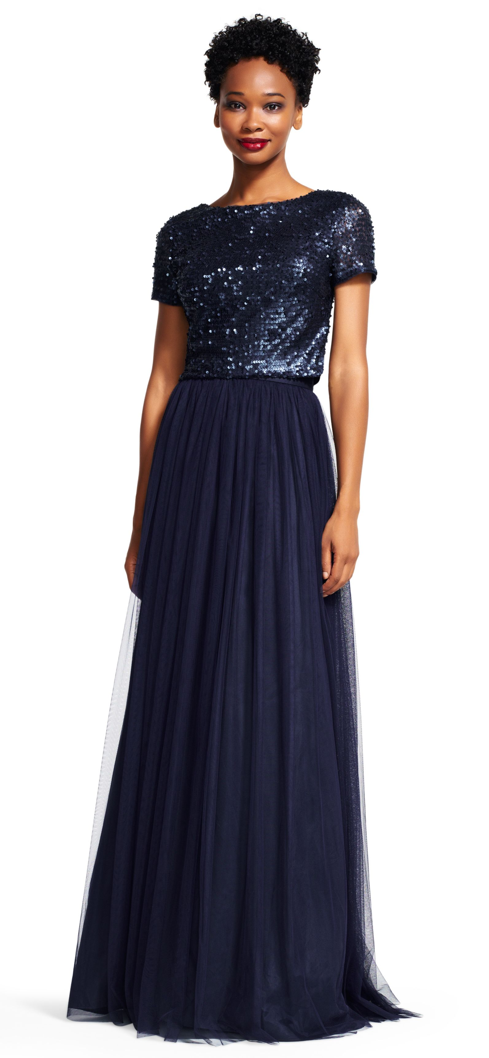 993a526f Adrianna Papell | Short Sleeve Sequin Dress Set with Chiffon Skirt | The  perfect amount of glamour is easily attained in this formal gown set.