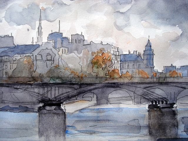 Pont Des Arts Paris Aquarelle By Deneux Jacques Les Arts