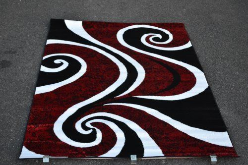Area Rugs Red Black And Whit | 0327 Red Black Swirl White Area Rug Carpet  5x7