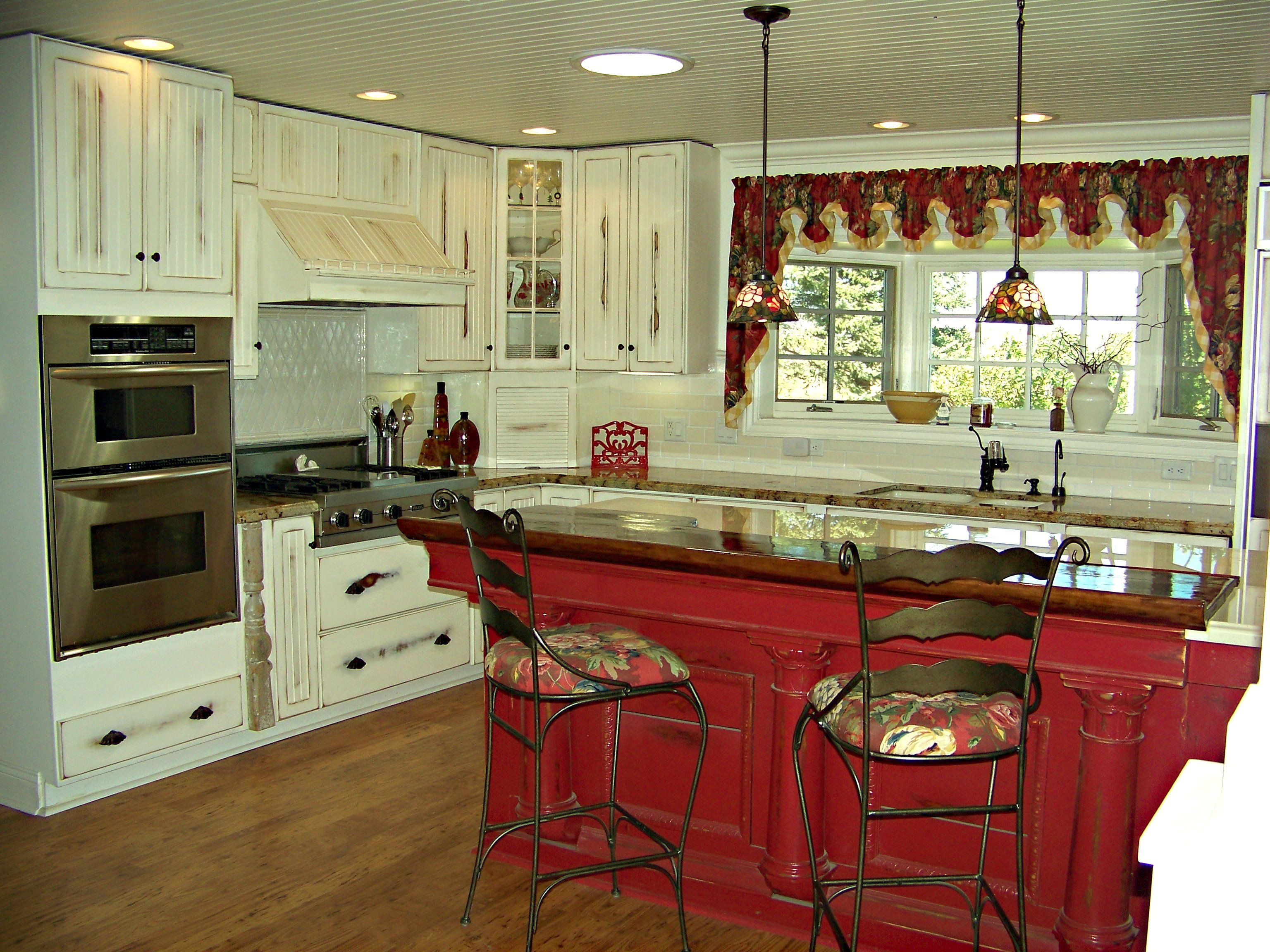 Red Island White Distressed Cabinets Bead Board Ceiling Love This Kitchen Beadboard Kitchen White Distressed Cabinets Red And White Kitchen Cabinets