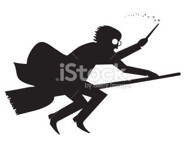 Stock Illustration 10817193 Wizard Boy Silhouette Flying On Broom Jpg 380 303 Pixels Harry Potter Silhouette Silhouette Boy Silhouette