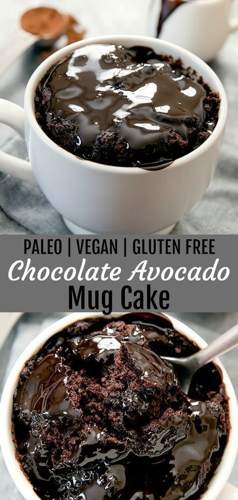Flourless Chocolate Avocado Mug Cake (Paleo, Vegan, Gluten Free)