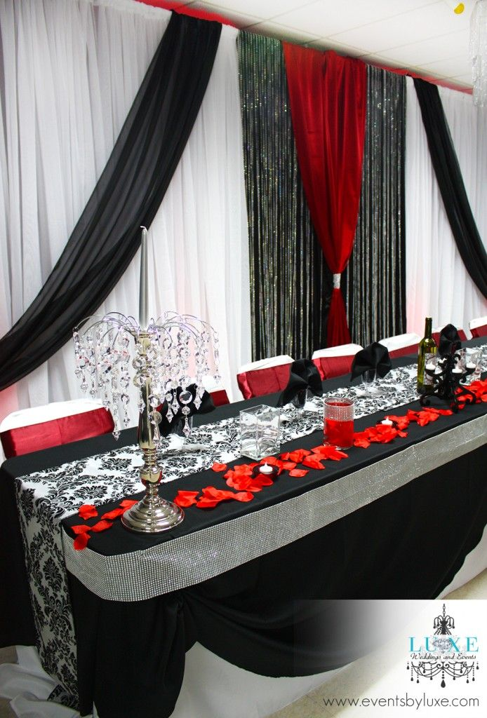 red, black, white and damask wedding decor in london ontario