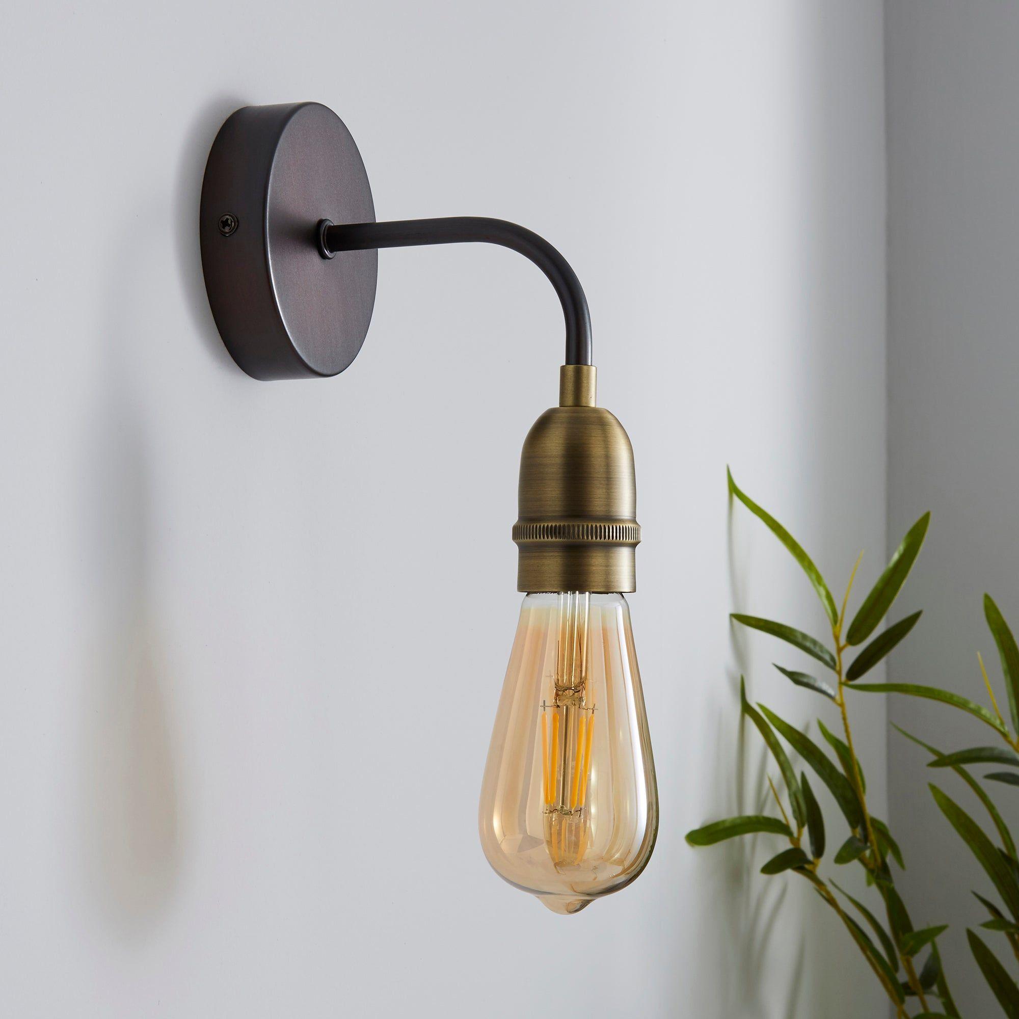 Marsden Antique Brass Industrial Wall Light Industrial Wall Lights Wall Lights Wall Lights Living Room