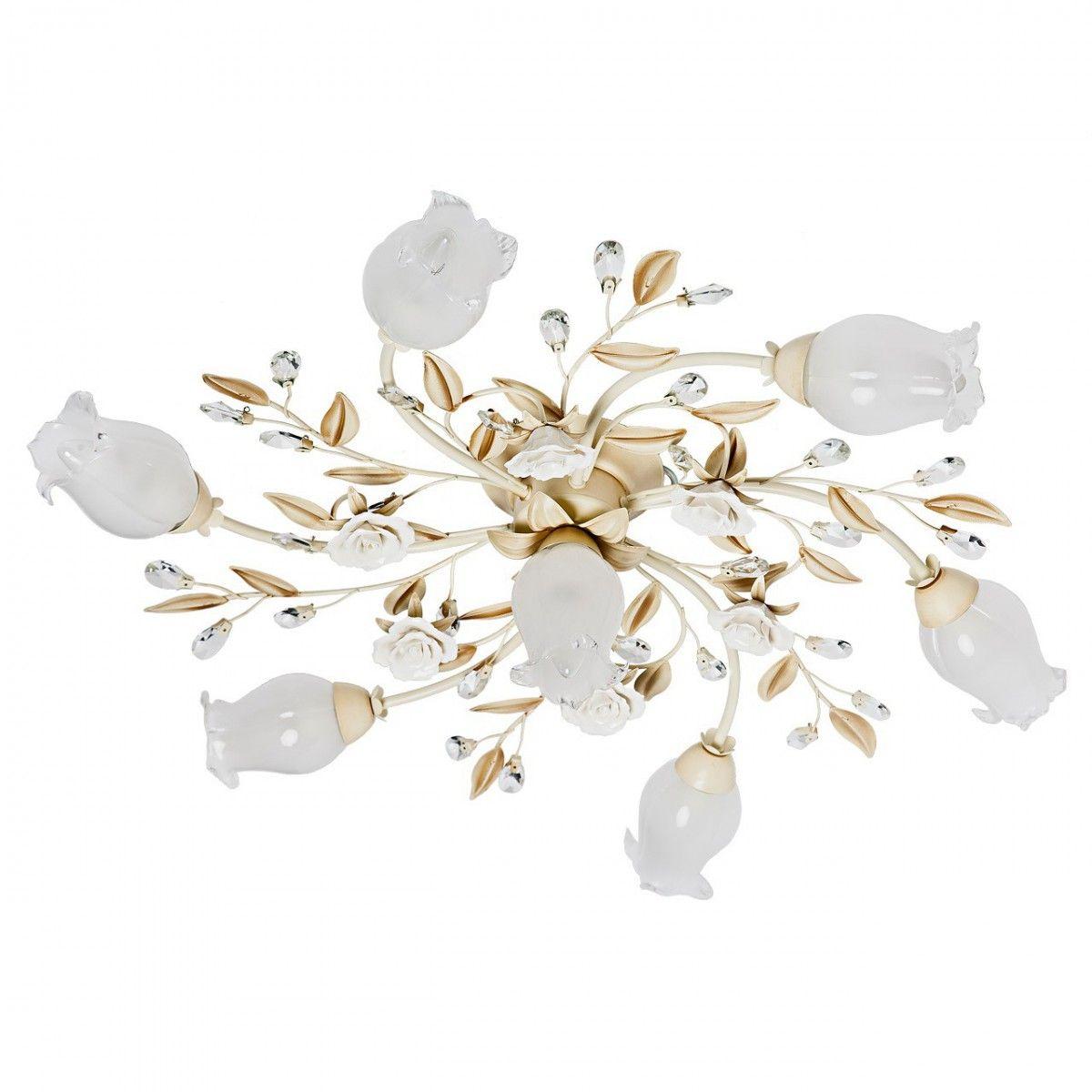 Deckenleuchte Flora Style in Elfenbein Antik / Weiß
