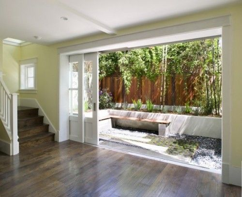 These pocket doors create a seamless transition from for Small sliding glass patio doors