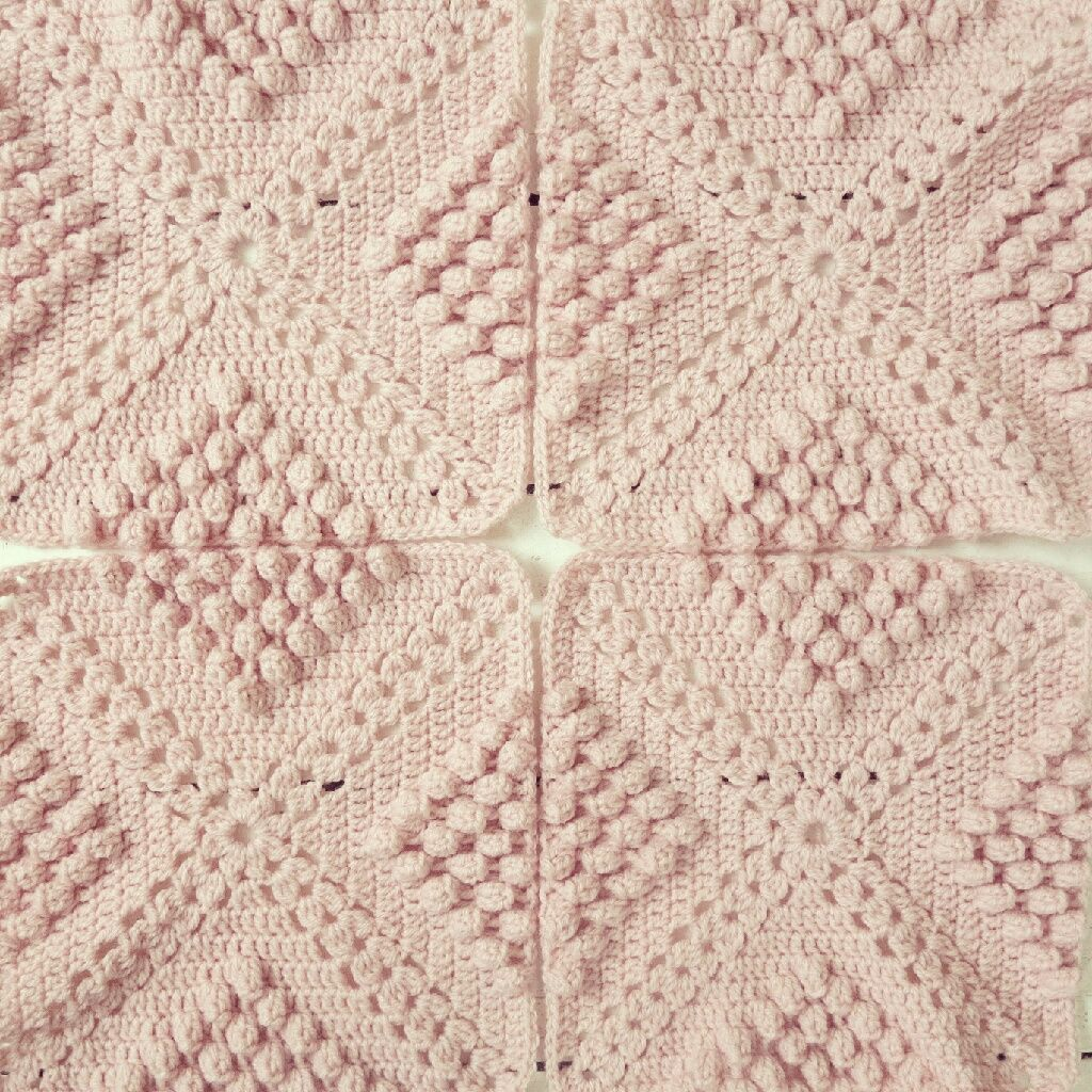 Knitted Popcorn Stitch Afghan : ByHaafner, crochet, throw, plaid, bobble popcorn stitch, pastel, pink. Popcor...