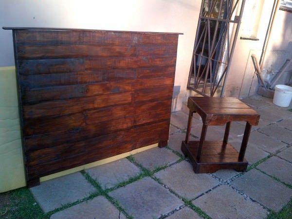Bedroom Pallet Headboard & Side Table   Pallet headboard ...