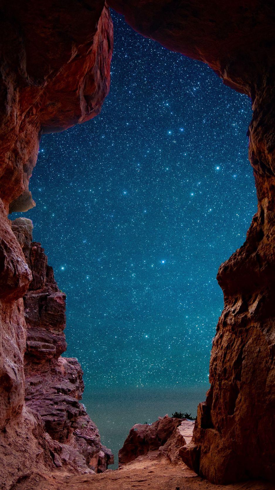 Cave, starry sky, stars, rocks, desert wallpaper, background
