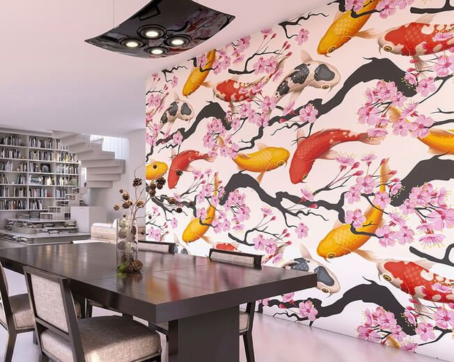 Koi Fish Wall Mural | Floral Pink U0026 White Blooms | Koi Wall Art | Japanese