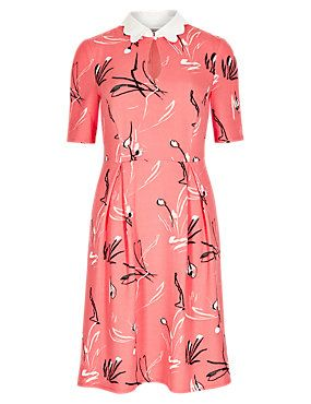 Coral Mix Abstract Print Collared Neck Skater Dress