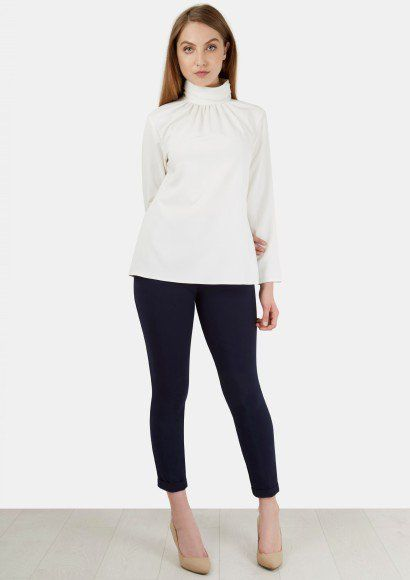 Ivory Long Sleeve High Ruched Neck Blouse