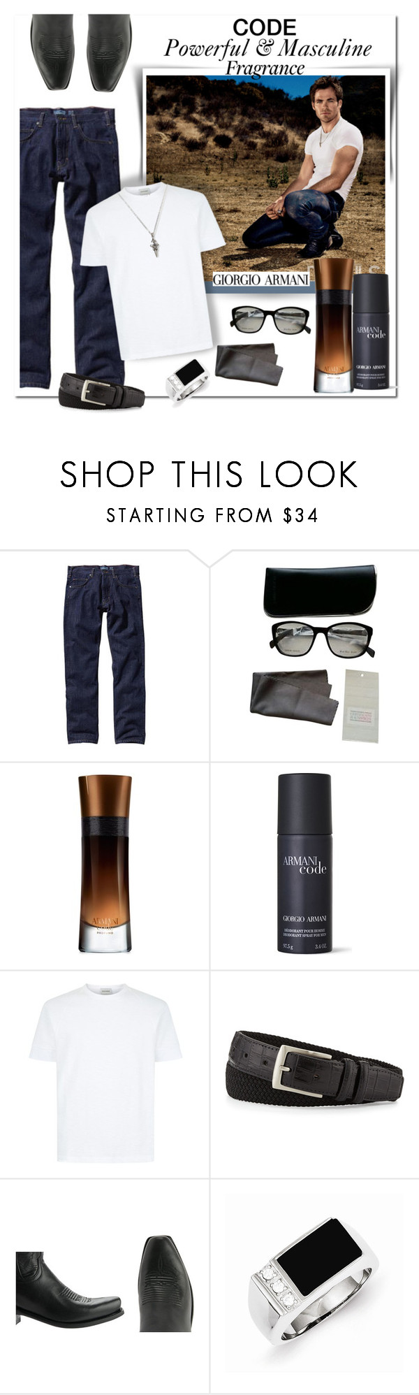 """Giorgio Armani - Armani CODE"" by wanda-india-acosta ❤ liked on Polyvore featuring Patagonia, Giorgio Armani, Neiman Marcus, Lucchese, Seven London, men's fashion and menswear"