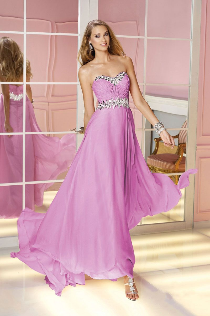 Chiffon Long Strapless Zipper Beading Prom Dress | Atuendo para ...